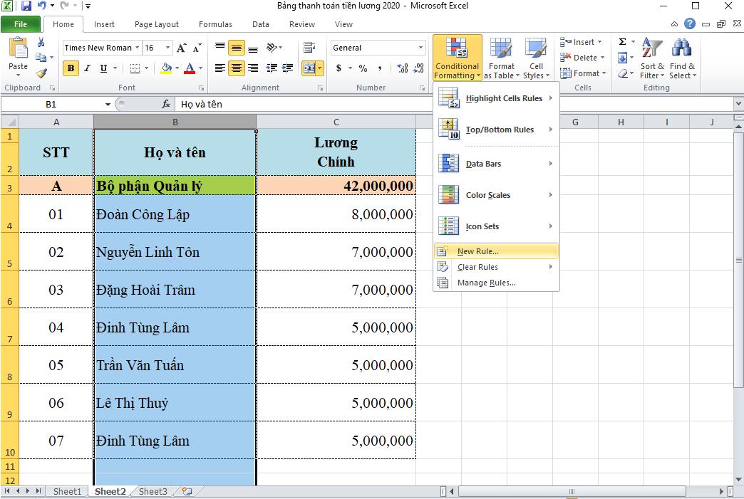 cách lọc dữ liệu trùng trong Excel