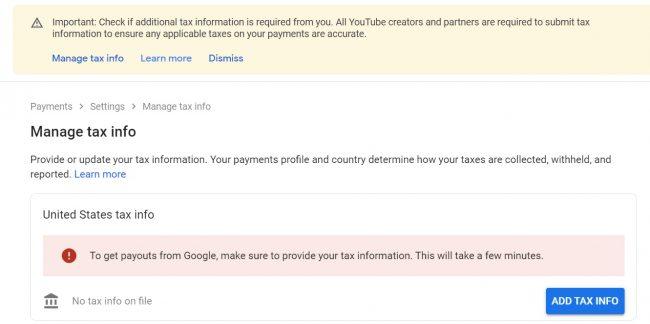 Điền thông tin thuế (tax information) Youtube